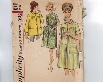1960s Vintage Sewing Pattern Simplicity 4572 Misses Smock Housedress Size 12 Bust 32 60s