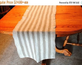 Sale Rustic Linen Table Runner Table Linens Striped Brown Beige Prewashed Heavy Linen