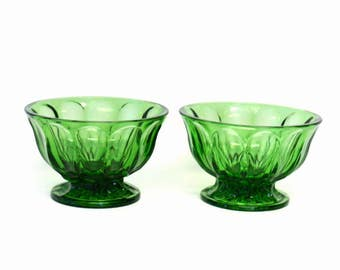 Set of Two Spearmint Green Glass Footed Candy Dishes in Fairfield Pattern by Anchor Hocking