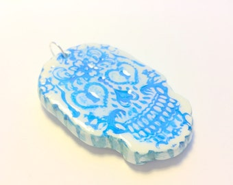 Sugar Skull Ornament Faux Ceramic Blue and White Skull Decoration Dia De Los Muertos Christmas Ornament