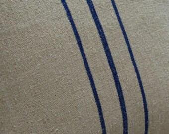 Grainsack 18x14 Down Handmade Pillow/Cottage Paris/Shabby Chic Blue Stripe/Rustic Pillow/Beach Pillow