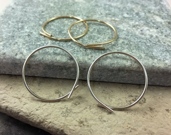 Large Ribbon Hoops - Silver or 14k Gold Fill - Threader hoops - Catchless hoop earrings - Handmade sleeper hoop earrings