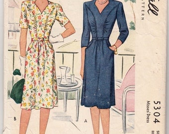 """Rare 1940's Vintage Sewing Pattern Ladies' Dress McCall 5304 34"""" Bust - Free Pattern Grading E-book Included"""