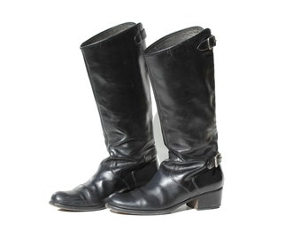Italian Black LeatherTall Pull On Fashion Riding Boots / size 8.5