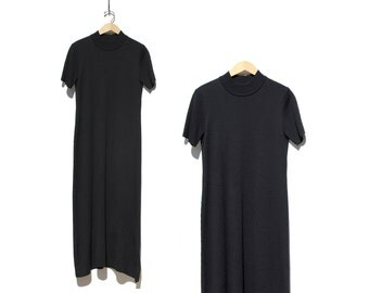 Vintage Black Wool Knit Mock Neck Minimalist Maxi Dress