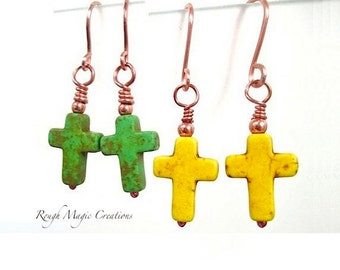 Cross Earrings, Handmade Jewelry, Colorful Gemstone, Christian Statement, Choose Green or Yellow, Real Stone, Religious Gift for Women E199