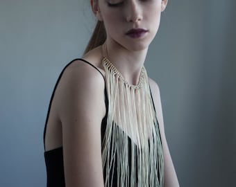 Cream colour Stetment Necklace, Leather Fringe Necklace, Handcrafted Fringe Jewelry for Women, Night out Boho Necklace