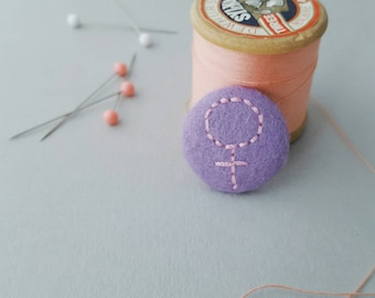 Purple felt feminist badge - woman symbol - galentines gift