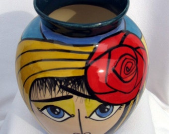 Small Oval Ceramic Vase Funky Impressionistic Face Impressionistic Red Rose on Etsy