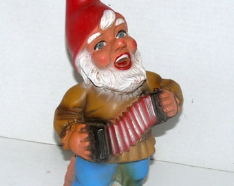 "Vinyl Garden Gnome 13"" tall - West Germany - Accordian Man"