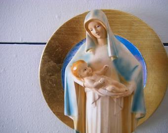 1938 Art Deco Madonna and Child Plaster Religious Statue