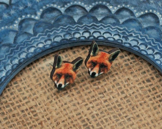 Red Fox Earrings, Wooden Fox Stud Earrings, Animal Earrings, Fox Jewelry