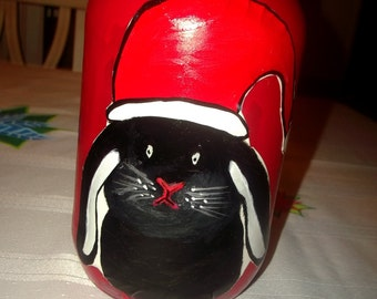 Christmas Kitten and Bunny Pet Snack Jar with Original Artwork Kitty and Bunny with Santa Hat Unisex Holiday Gift Party Decor Vase Cookies