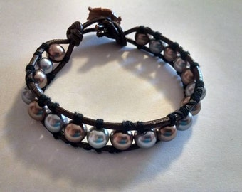 Silver and Gold Pearl Leather Wrap Bracelet With Owl Button Closure 8 Inches Gray and Copper Nice Handmade Gift