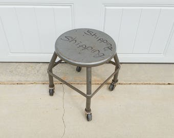 Vintage Industrial Metal Shop Stool Stand On Wheels