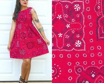 1990s Vintage Red Handkerchief Print Dress Empire Waist Babydoll Dress Red Black White Print Dress Grunge Dress Size Extra Small