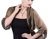 Bronze Black Silk Chiffon Formal Bolero Jacket FIRST LADY/ Sizes XS - 4X