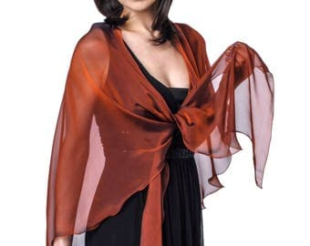 Venetian Red Silk Chiffon Drape Triangular Shawl Wrap for Evening Dress
