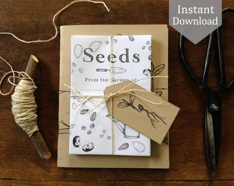 Seed Envelopes & Tags - Digital - Printable PDF + Gardening Notebook Cover PDF