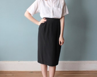 black silk skirt | 90s black pencil skirt | medium - large