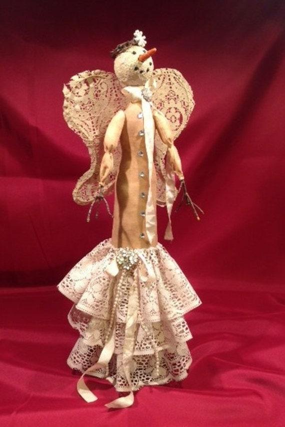 "Cloth Doll E-Pattern 18"" Primitive Snow Girl doll e-pattern"
