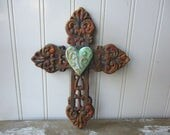 """Rustic cast iron cross faux rust verdigris heart wall hanging 8"""" metal cross brown antique style Christian decor 6th anniversary gift LR8"""