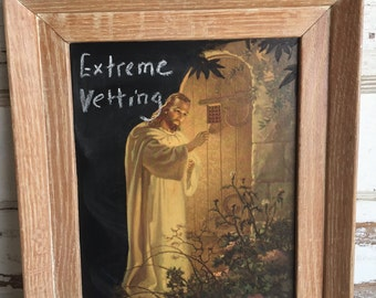 Altered Thrift Store Art - Message Board - Vintage Jesus Knocking Chalkboard
