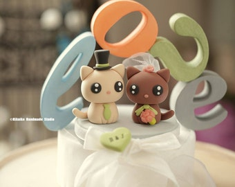 cat and  kitty Wedding Cake Topper---k875