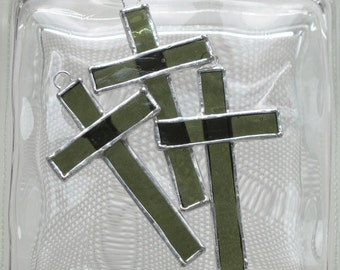 Small Stained Glass Cross Suncatcher or Ornament in Forest Green