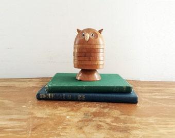 vintage 60s Owl Figural Teak Drink Coasters Set of 6 Wooden Coasters