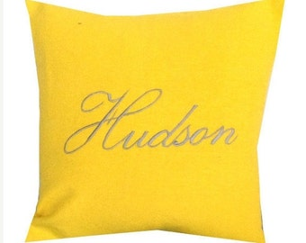 Monogram Name Pillow Personalized, Embroidered Name Pillow Covers. Monogram Euro Sham,Trending Items, Embroidered Kids Room,Wedding Gift
