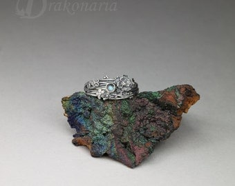 Twig ring - labradorite and silver, tiny sculpted flowers and twigs, limited collection
