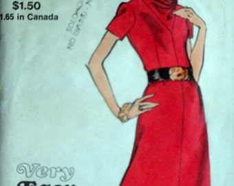 Vintage 70's Vogue 8147 Sewing Pattern, Very Easy Very Vogue Misses' Dress With Cowl Neckline, Size 14, 36 Bust