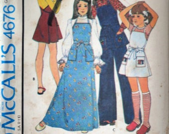 Vintage 70's McCall's 4676 Sewing Pattern, Girls' Wrap Apron Jumper Or Top & Pants, Size 7, Uncut FF, Kids 1970's Fashion, Carefree Pattern
