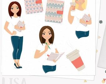 Planner girl character clipart, journal woman, diary, organizer, planning, coffee, digital blonde, brunette and auburn hair (Lisa L191)