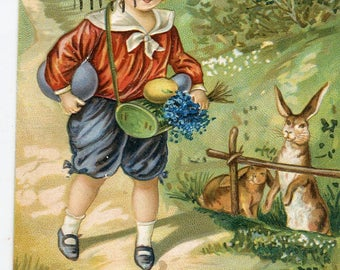 Easter Boy , bunnies, Easter eggs, vintage postcard