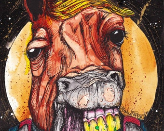 """Horse Drawing - Fine Art Print - Inktober Illustration - """"Money in tha Bank"""" by Far Out Arts"""