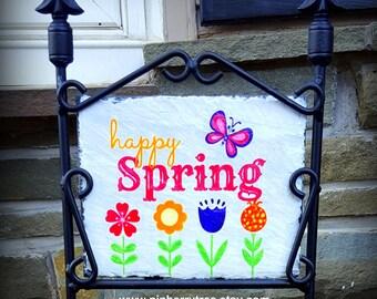 Happy Spring Decorative Slate Sign/Springtime Decorative Slate Sign/Happy Spring Flowers and Butterfly Decorative Slate Sign