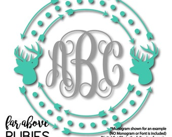 Deer Buck Monogram Wreath with Arrows Dots (monogram NOT included) - SVG, DXF, png, jpg digital cut file for Silhouette or Cricut