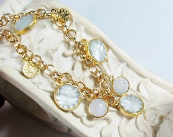 Moonstone and White Enamel Gemstone, Sultan's Gold Charm Bracelet