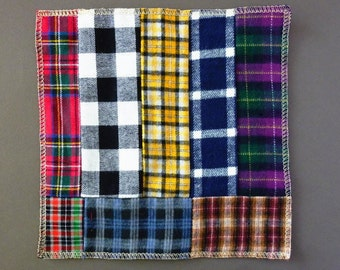 Mens Handkerchief Plaid for Dad Fathers Day Gift Flannel Hankerchief 100% Cotton Hank Gift Men EDC Hank Uber Soft Limited Edition Handmade