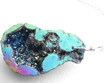 Rainbow Druzy Geode Pendant, Titanium Agate Crystal Necklace, Aura Quartz Jewelry, Nebula