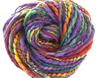 Handspun Yarn Hand Dyed Yarn Soft Merino Wool Yarn Super Bulky Yarn Art Yarn Purple Yarn Handmade Yarn 168 yards - Grape Vine