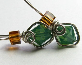 Green Opal Topaz Swarovski Crystal Illusion Earrings Wire wrapped Single Piece of Wire