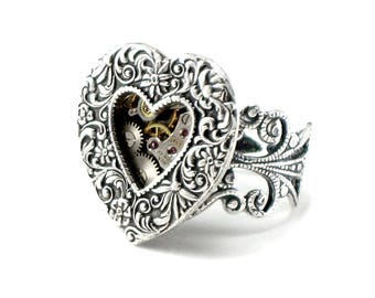 Steampunk Ring with Open Heart and Exposed Gears - Romantic Neo Victorian Watch Parts Ring with Adjustable Filigree Band