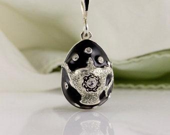 Teapot Jewelry Necklace Teapot Black Pendant Tea Kettle Tea Party Sterling Silver Enamel Egg Pendant w Silver Tea Pot Gift For Her