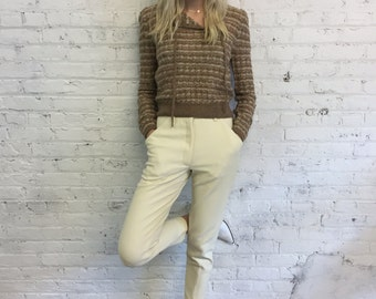 vintage St John sweater / tan and cream striped loose knit fitted sweater / puff sleeve with metallic lurex stripes