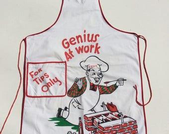 Vintage Apron BBQ Full Bib Genius at Work