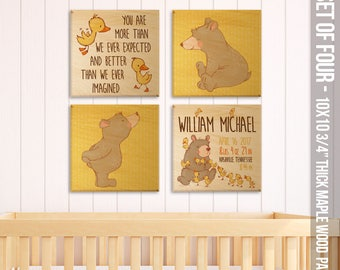 Rustic nursery wood panels for baby's room - personalized birth announcement SET of FOUR 10 x 10 maple panels FBP-002