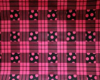 Vintage 1990s Fabric, 1.3 Yds of Stiffer Glazed Cotton in Dark Pink Magenta and Black Polka Dot Grid Pattern by Hampton Print Works, Destash